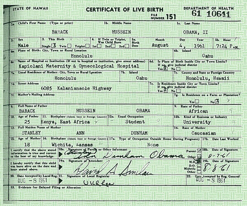 The Long-Form Birth Certificate of Barack Obama
