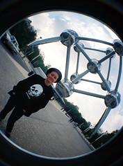 Me at the Atomium fisheye (melita_dennett) Tags: camera brussels film architecture modern analog 35mm lomo lomography belgium belgique space bruxelles fair fisheye age 1958 fi analogue atomium sci wold