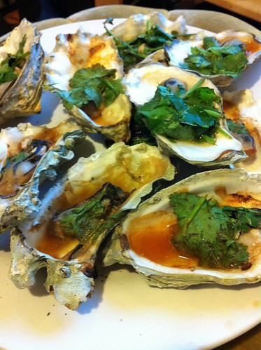 BBQ Oysters with Cilantro and Louisiana Hot Sauce