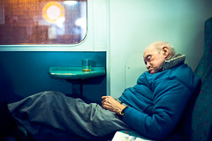 Whisky (TGKW) Tags: old sleeping portrait people man public glass drunk train sitting glasgow transport bald elderly alcohol booze whisky asleep lying 3070