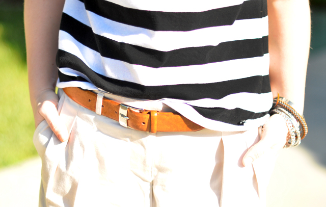 black and white stripes with cognac