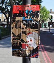 Snowblind (id-iom) Tags: street england urban white snow london art cool artwork stencil screenprint paint heart drop lamppost cardboard signpost snowwhite clapham brixton hold