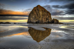 Haystack Rock on Cannon Beach Oregon - HDR (David Gn Photography) Tags: morning sea sky seascape reflection clouds sunrise landscape dawn early sand scenic pacificocean oregoncoast lowtide cannonbeach haystackrock soe hdr 3xp sigmalenses flickraward platinumheartaward canoneos7d sigma1020mmf35exdchsm platinumpeaceaward flickraward5 mygearandme sigm50th