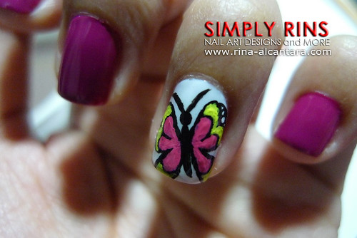 Nail Art Butterfly and Flowers 05