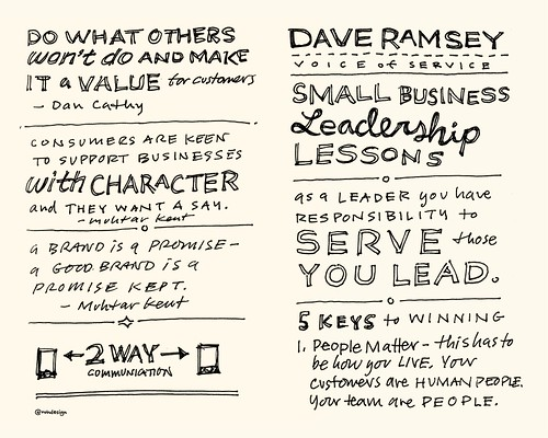 Chick-Fil-A Leadercast Sketchnotes 31-32 - Dan Cathy & Muhtar Kent / Dave Ramsey