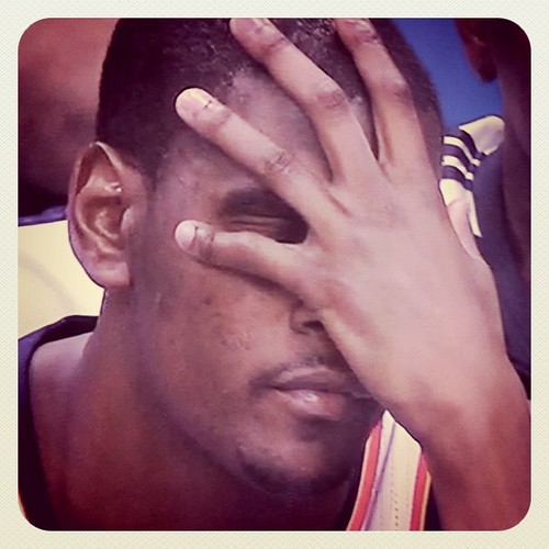 Kevin Durant face-palm. #gomavs #mffl 23 pt lead.