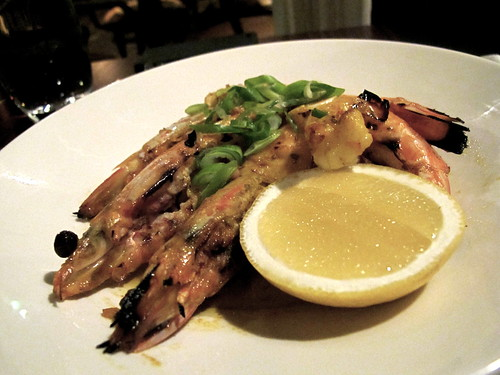 Prawns on the grill with roast garlic and saffron butter
