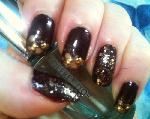 Brown and Gold Studded Mani by KitaRei