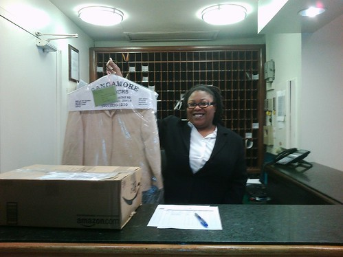 The front desk and Christine's Jacket