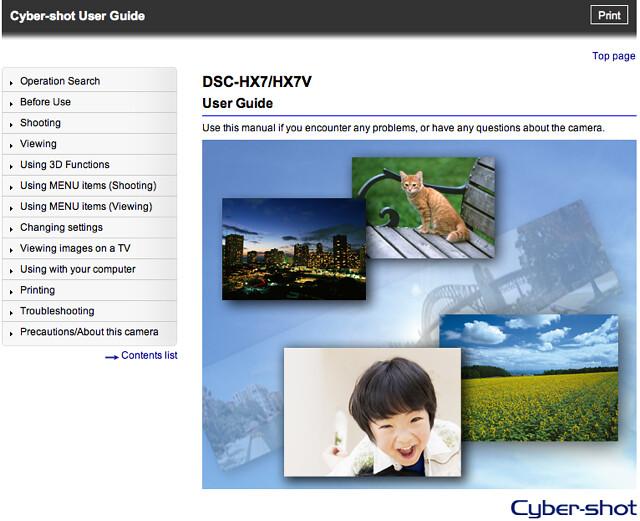 Sony HX7V / HX7 Cyber-shot User Guide / Handbook (Advanced, Online Version)