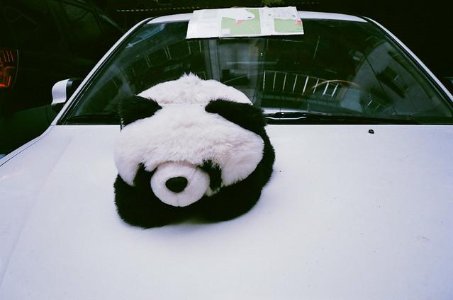 在車上發呆的趴趴熊