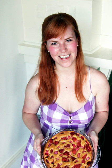 Me + Strawberry Rhubarb Cake