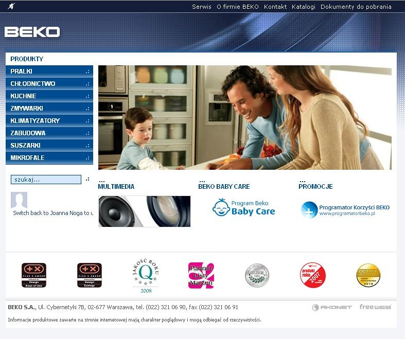 Druga odslona serwisu www.beko.com.pl