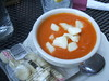 Tomato soup with cheese curds