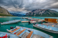 Early Friday morning at Lake Minnewanka (RichHaig) Tags: fishingboats lakeminnewanka banff landscape water nikonnikkor1424mmf28 gitzotripod alberta mountains sky canada richhaig coulds nikond800 boats