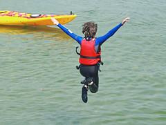 a leap into the future (ludi_ste) Tags: leap salto jump boy sea mare vuoto gap canoa swanage