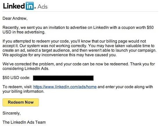 LinkedIn Ad Email