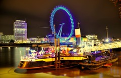 Party Boats (raghavvidya) Tags: uk england london eye thames night project nikon explore 365 2011 d300s raghavvidya