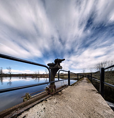 Garlogie sluice control (P4028879) (Mel Stephens) Tags: 2011 scotland uk panorama panoramic stitched garlogie longexposure aberdeenshire favourite cloud clouds sky structure water manmade aberdonia ptgui gps geotagged