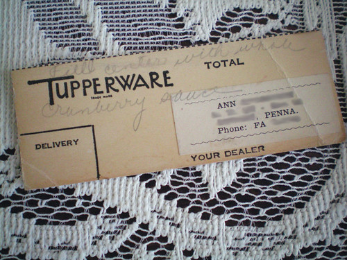 Tupperware party note