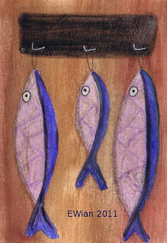 three little fishes hanging in a row 5