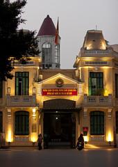 Hoan Kiem district Police station at Night, Hanoi, Vietnam (Eric Lafforgue) Tags: lighting people b