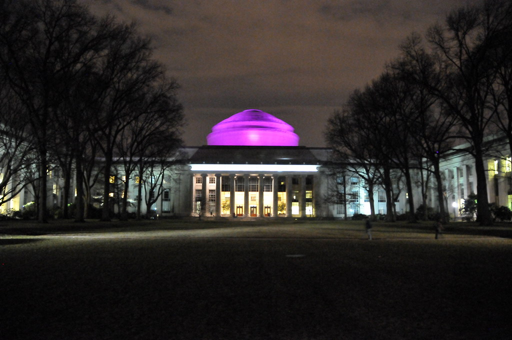 Massachusetts Institute of Technology (MIT) and Mclaurin Building Dome and Killian Court at Night in Cambridge MA