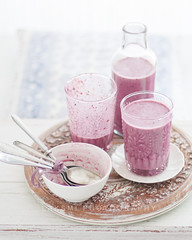 Blueberry Lassi (Laksmi W) Tags: wood blueberry smoothie lassi tabletop winterlight foodphotography ginordic1