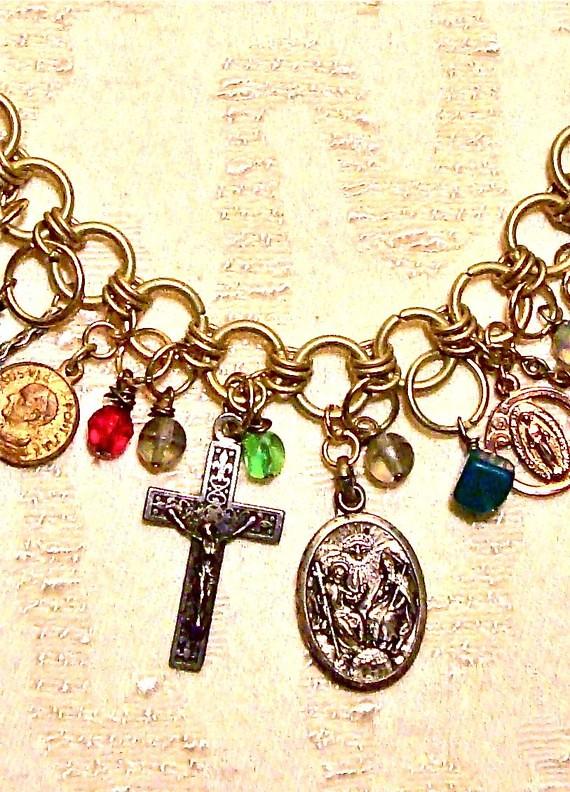 Designer Charm Bracelet - Vintage and Antique Charms