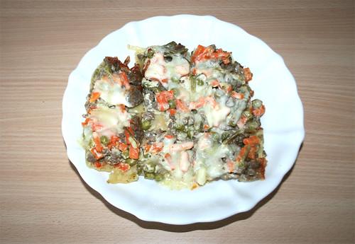 Gemüse-Frischkäse-Lasagne - aufgewärmt / vegetable cream cheese lasagne - reheated