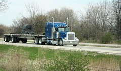Blue Peterbilt pulling a flatbed (myhotrod9) Tags: truck semi pete conventional trucking peterbilt 18wheeler flatbed tractortrailer bigrig class8 largecar