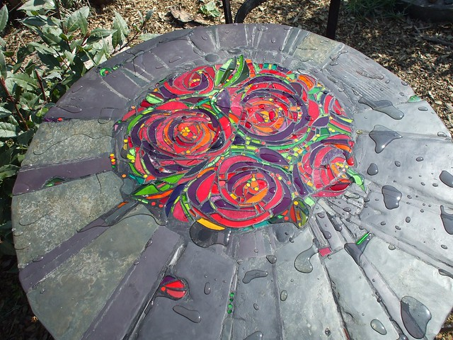 Rose Peony furniture set table top glass mosaic