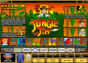 free Jungle Jim paytable