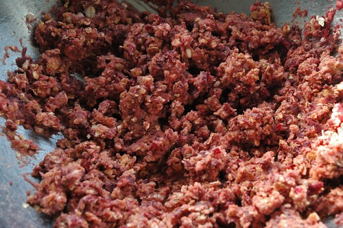 Mashed bean and beet mixture