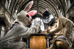 Bunny vs. Rabbit (D.Maitland) Tags: rabbit bunny abandoned church hat dark easter weird funny mask michigan coat detroit creepy suit odd trench fedora hdr lightroom yearoftherabbit urbex 313 2011 dmaitland