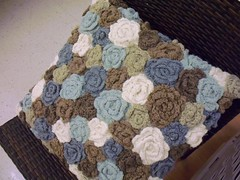 GorgEous Pillow Find (bienzfive) Tags: roses white crochet blues pillow earthy browns