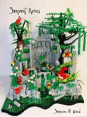 Serpent Ruins (Siercon and Coral) Tags: tree castle fly ruins dragon lego snake ninja alligator frog jungle swamp hornet serpent spawn moc trap venus d2ccontest