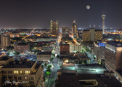 San Antonio Skyline with Full Moon (Ellen Yeates) Tags: city roof moon tower skyline night sanantonio work canon skyscape hotel ellen san downtown cityscape texas full fullmoon antonio hdr drury yeates