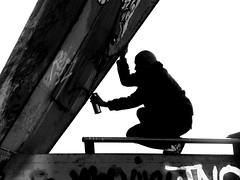 action (wojofoto) Tags: amsterdam action streetartist graffiti ndsm bw zw wojofoto silhouette wolfgangjosten zwartwit blackandwhite monochrome nederland netherland holland straatfoto streetphoto people mensen