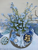 Blue Easter from Above (Of Spring and Summer) Tags: flowers blue stilllife inspiration green art home cup nature glass floral leaves vintage silver garden easter photography design leaf ribbons bottles lace embroidery antique interior napkin creative feathers plate retro tape fabric stems eggs jug romantic ribbon plates antiques tablecloth dots jugs cottagestyle doily vases fabrics eastereggs washi tablecloths doilies quaileggs chocolateeggs forgetmenots shabbychic poolepottery washitape ofspringandsummer prettystems
