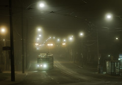 Neville Park Streetcar on Queen St. East in The Beach, Toronto (Christopher Brian's Photography) Tags: nightphotography toronto ontario canada fog ttc streetphotography streetcar thebeach queenstreeteast canonef50mmf18ii nevillepark canoneos7d