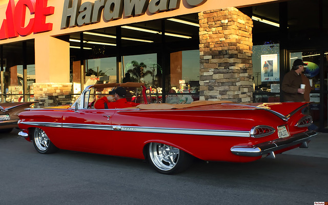 red chevrolet convertible chevy impala donutderelicts