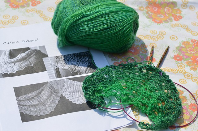 Current project: Calais Shawl