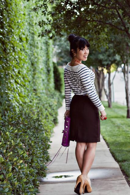 loft striped shirt talbots skirt charlotte russe gold skinny belt forever 21 mustard pumps rebecca minkoff mac clutch magenta