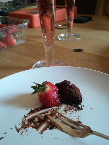 Chocolate cake, pink fizz and strawberries - why, what are you doing?