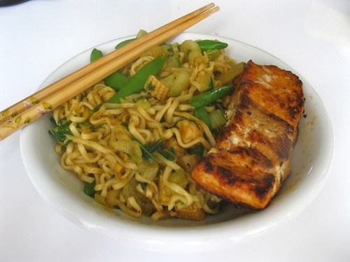 Singlish Swenglish Seared Salmon with Singapore noodles