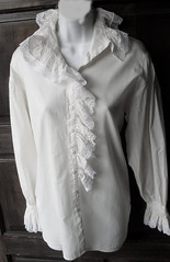 Victorian Inspired Ivory Cotton & Lace Ruffled Blouse Full Length Front 2 (mondas66) Tags: ruffles lace victorian ascot blouse cotton poet romantic elegant ornate lacy dainty prim frilly elegance jabot ruffle demure blouses frills frill ruffled flouncy flounce lacework frilled flounces frilling frillings befrilled
