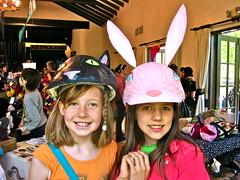 friends (Black Cat Bazaar) Tags: california pink friends black bunny art cat booth fun costume artist smiles craft heads chico bazaar helmets sarahcampbell bizarrebazaar blackcatbazaar