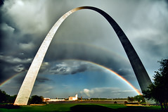 Triple Arches (JLMphoto) Tags: sun feet monument rain st shower louis rainbow arch steel united national missouri gateway tall states 630 stainless expansion westward