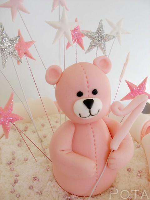 Gateau pour fille, ours rose